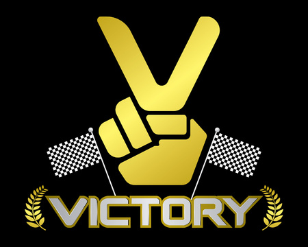 victory symbol: V hand emblems victory symbol. Template for logos vector.
