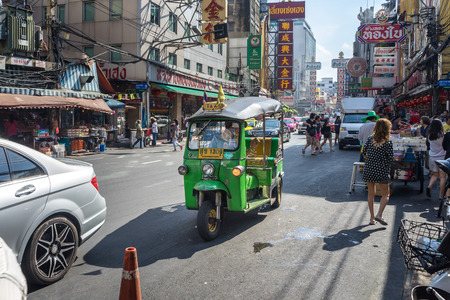 tuk tuk: YAOWARAT, BANGKOK, THAILAND -10 JAN, 2016: Tuk Tuk vehicle on chinatown Thailand, Yaowarat is a major of gold trading market in Bangkok. on January 10, 2016 in  Bangkok Thailand. Editorial