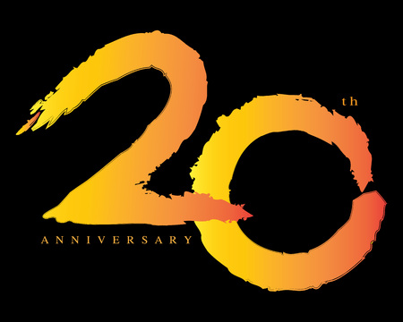 20: 20 years anniversary, brush stroke concept Illustration