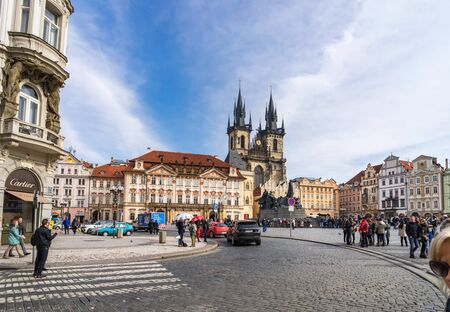 unesco in czech republic: PRAGUE, CZECH REPUBLIC - MARCH 5, 2016: Old town square in Prague, Tyn Cathedral of the Virgin Mary and monument of Jan Hus. Czech Republic, World Heritage Site by UNESCO. on March 5, 2016