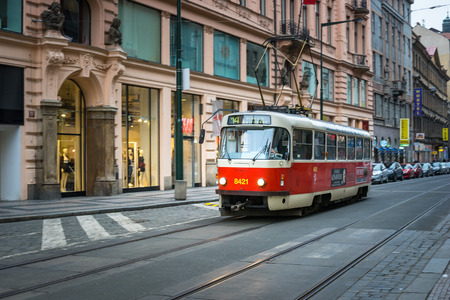 number 14: PRAGUE, CZECH REPUBLIC - MARCH 5, 2016: The vintage excursion tram number 14 parade goes on old town in Prague. on March 5, 2016