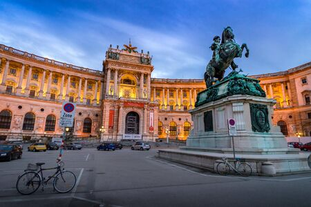 habsburg: VIENNA, AUSTRIA - MARCH 6: Evening view at Hofburg Palace and Austrian Habsburg. Statue of Emperor Joseph II, March 6, 2016 in Vienna, Austria.