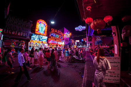 PATTAYA, THAILAND - April 15, 2016 : Colorful night light in walking street Pattaya on April 15, 2016 Pattaya Thailand.