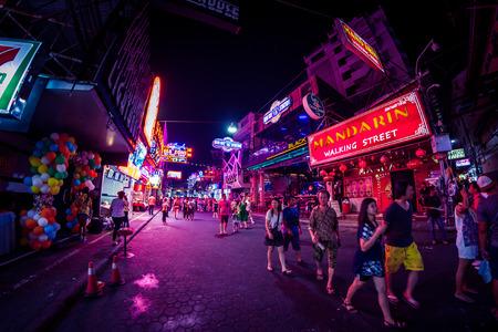 brothel: PATTAYA, THAILAND - April 15, 2016 : Colorful night light in walking street Pattaya on April 15, 2016 Pattaya Thailand.