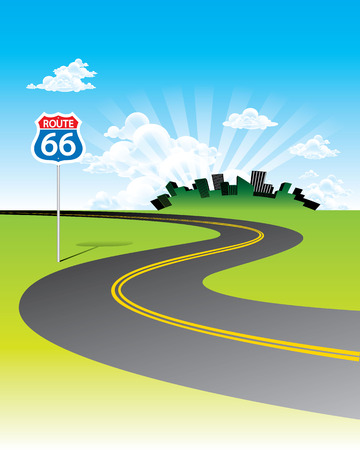 Curve road with Route 66 sign concept vector.