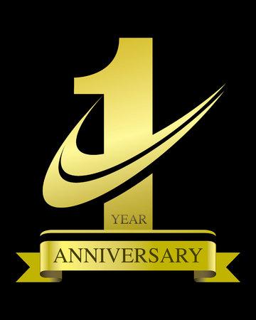 1 year anniversary: 1 Year anniversary concept vector.