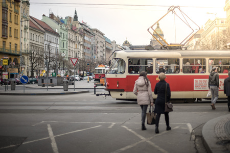 tramcar: PRAGUE, CZECH REPUBLIC - MARCH 5, 2016: The vintage tram Tatra T3M goes on old town in Prague. on March 5, 2016