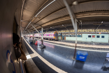 rapid steel: Fisheye, Fast train with motion blur.