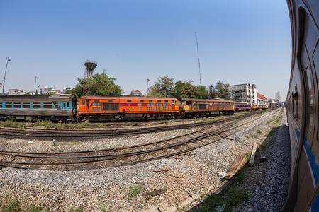 hua: BANGKOK, THAILAND - April 11, 2015 : Fisheye view, Wayside view from train going to Hua Lamphong railway station on April 11, 2015 Bangkok Thailand. Editorial