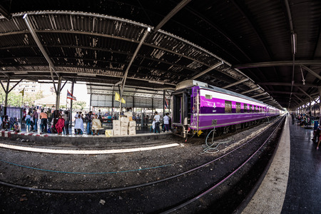 rapid steel: BANGKOK, THAILAND - April 11, 2015 : Fisheye view, Hua Lamphong railway station on April 11, 2015 Bangkok Thailand. Editorial