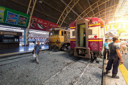 rapid steel: BANGKOK, THAILAND - April 11, 2015 : Hua Lamphong railway station on April 11, 2015 Bangkok Thailand. Editorial
