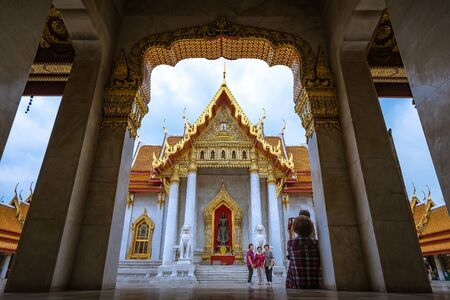 Bangkok, Thailand - November 25: Marble Temple (Wat Benchamabophit) on rainy day. on november 25, 2016 in Bangkok, Thailand.