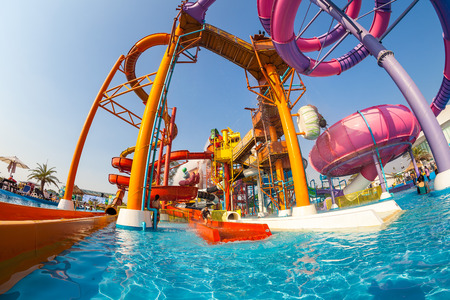 circular blue water ripple: PATTAYA, THAILAND - DEC 27, 2015: Cartoon Network Amazone Water Park, New recreation in Pattaya on December 27, 2015 in Pattaya Thailand. Park create from cartoon character on Cartoon Network channel