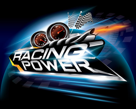 Racing Power with Checkered Flags Concept Design Vector Illustration
