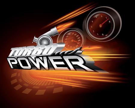 Turbo Power Concept Design Vector Illustration