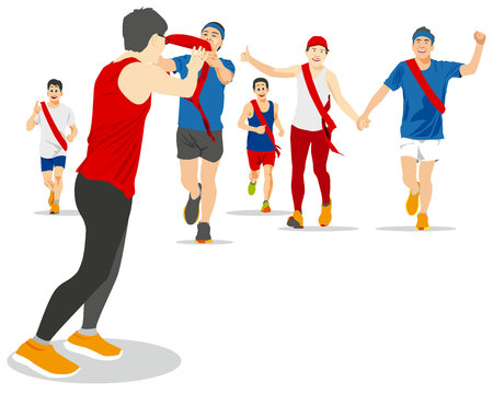relay: EKIDEN MARATHON WAS BORN IN JAPAN, THE RELAY RUNNERS HAND OVER THEIR SASH TO THE NEXT RUNNER. Illustration
