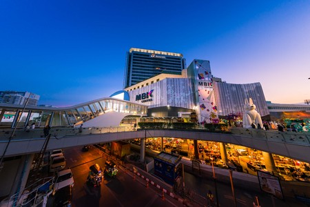 BANGKOK, THAILAND - APRIL 30: Fisheye view, The new renovated of MBK Shopping Center. MBK is a big shopping mall, restaurants, IT product, mobile phone, and service. Bangkok, Thailand on April 30, 2017.