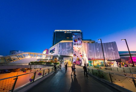 renovated: BANGKOK, THAILAND - APRIL 30: Fisheye view, The new renovated of MBK Shopping Center. MBK is a big shopping mall, restaurants, IT product, mobile phone, and service. Bangkok, Thailand on April 30, 2017.