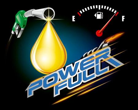 Benzinepomppijpen met de vector van de dalingsolie, machts volledig concept.