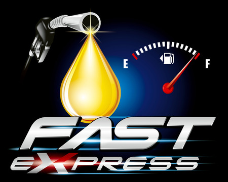 modification: Gas pump nozzles with drop oil vector, fast express concept.
