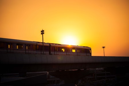 Nonthaburi, Thailand - April 22:  MRT sky train Purple Line is running on the evening. view from Central plaza westgate car park. on April 22, 2017 in Nonthaburi, Thailand. Editorial