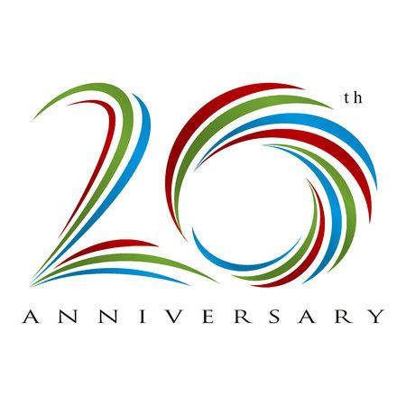 Vector de diseño de aniversario de 20 años
