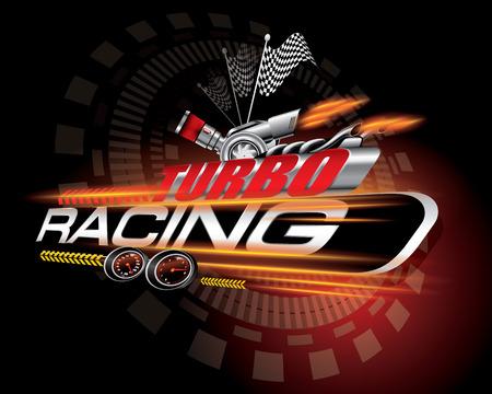 Turbo racing icon concept vector illustration. Illustration