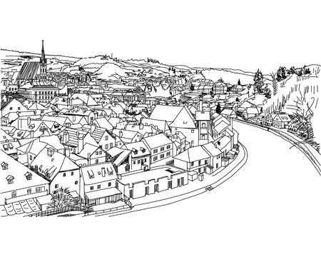 Old town view from cesky Krumlov. Hand drawn, sketch Ilustração