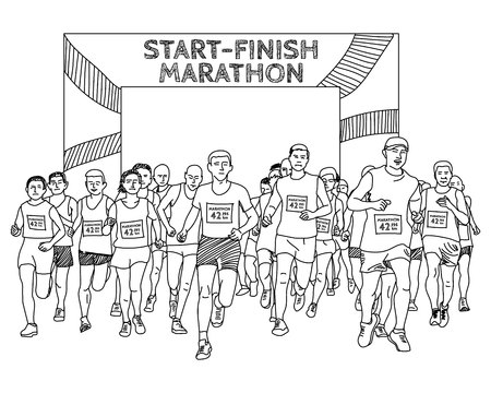 group of people are start running marathon. hand drawn, sketch