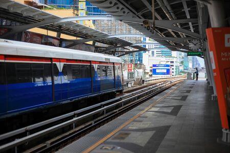 Bangkok -Thailand Oct 20 2018: BTS Sky train at Nana station in day time.