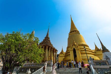 BANGKOK,THAILAND Feb 5: Wat phra kaew, Grand palace on the blue sky. on FEBRUARY 5, 2019 in Bangkok, Thailand.