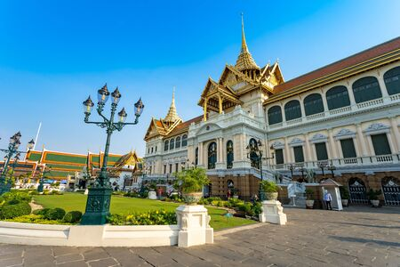 BANGKOK,THAILAND Feb 5: Chakri Throne Hall, Grand palace on the blue sky. on FEBRUARY 5, 2019 in Bangkok, Thailand.