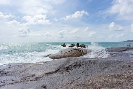 Sea view at Hin Ta Hin Yai Grandfather and Grandmother Rock on Koh Samui island, Unseen and amazing Thailand.