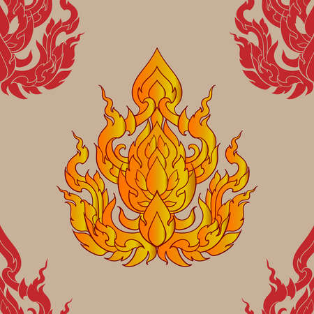 Pattern elements in traditional Thai painting.