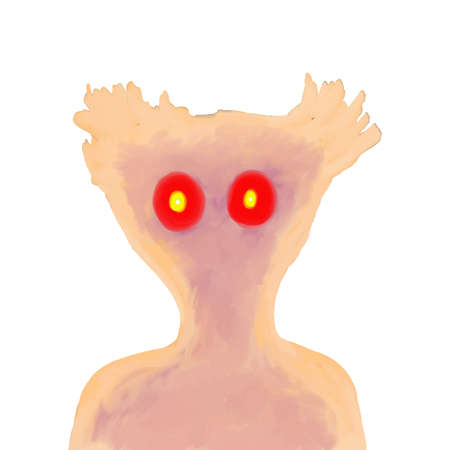 Monster portrait on white background.