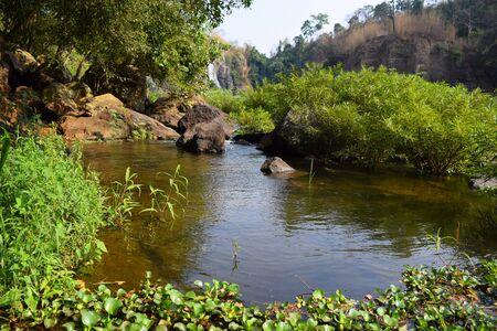 rock bottom: Da Nhim river near pongour, vietnam in dry season with rock on the bottom of the stream
