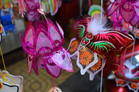 colorful lanterns decoration in mid-autumn festival in vietnam town