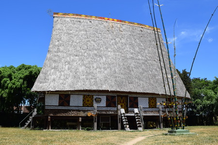 vietnamese ethnicity: traditional Rong house in ethnic villages in highland Vietnam. This communal house used for festivals and village meetings of the Bahnar, Jarai and other ethnic minorities