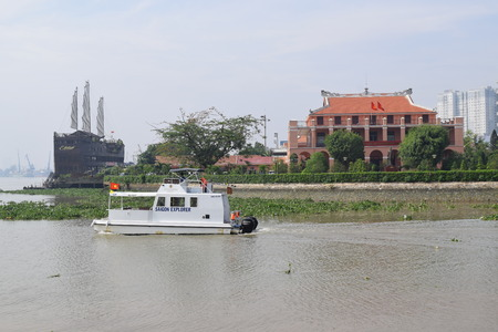 buiding: tourism ship and musium buiding in ho chi minh city Editorial