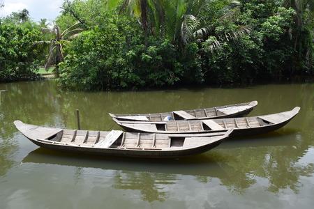 primeval: traditional asian fishing boat in river, vietnam