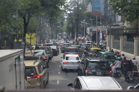 suffocating: traffic jam city street with many vehicle in vietnam Editorial