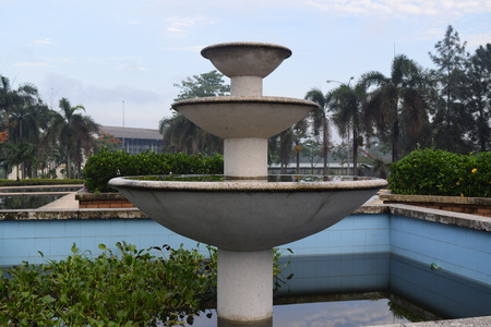 no water: Landscaping fountain with no water for meditation Stock Photo