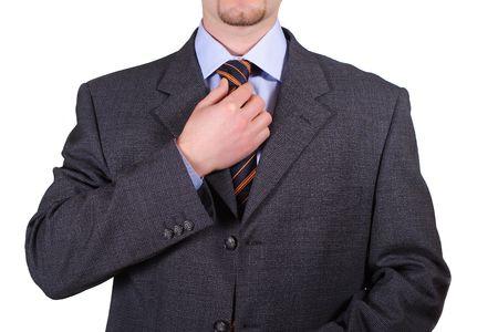 adjust: isolated man adjust tie