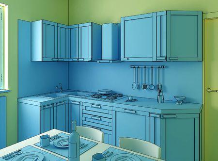 blue kitchen photo