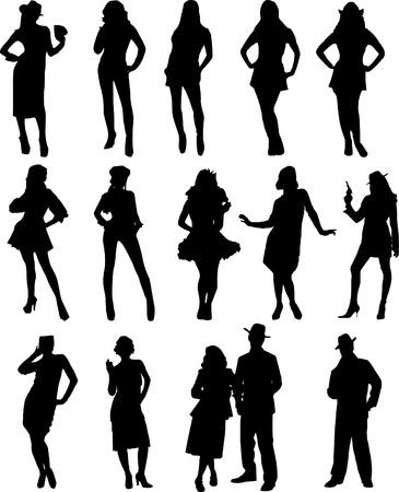 sillouette: people pose Illustration