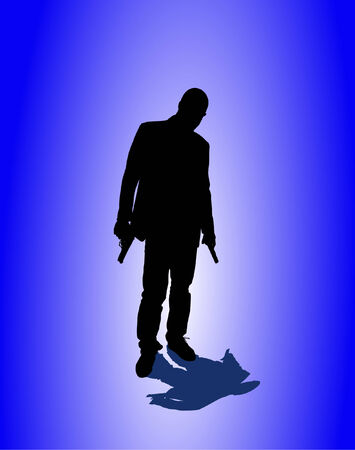 sicario: el hombre y la pistola de fondo  Vectores