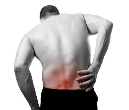 아픈: 허리 통증 스톡 사진