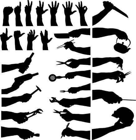 affirmative: hands sign and tools Illustration