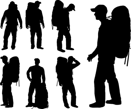 MAN TRAVEL WITH BACKPACK Stock Vector - 3073822