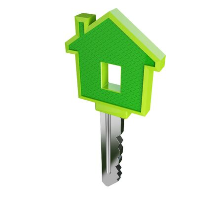 isolated green eco house key Stock Photo - 3106736